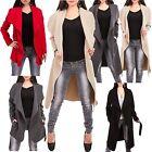 Damen Wasserfall Mantel Trench Coat Parka Übergangsjacke Jacke Größe 34 36 38-40