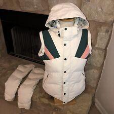 BURTON SNOWBOARD VEST Winter Ski Jacket Coat Women's S Cream Color Block Snow