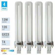 4 Pack PL13S PLS13 27 ECO CFL Plug-In 13W Watt T4 Bi 2-Pin GX23 2700K Soft White