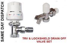 "Thermostatic Radiator Valve Set TRV + Lockshield Drain Off Valve 15mm x 1/2"""