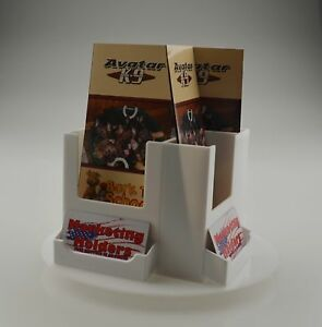 Rotating White 4 Pocket Tri-Fold Brochure Holder with Business Card Attached