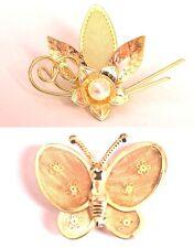 2 filigrane goldfarbene Broschen Schmetterling und Blume Perle Vintage Neu