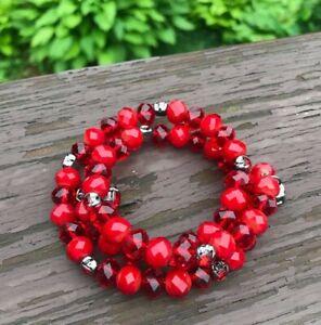 Vintage Red Bead Rhinestone Triple Twist Bracelet