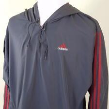 Vtg Adidas Trefoil Pullover w/ Hood Windbreaker Jacket Mens sz XL Gray Vented