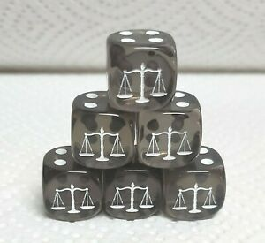 Dice -Custom Scales>*Six* 16mm Translucent Smoke>White Scales as #1 w/White Pips