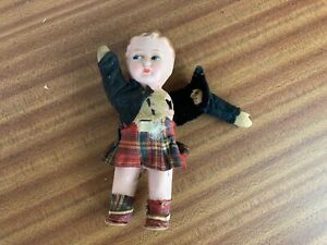 Vintage Antique Paper Mache Scottish Boy Doll Toy