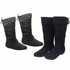 LADIES WOMENS LOW HEEL KNEE HIGH CALF PIXIE RIDING LONG SUEDE BOOTS FB-491 L