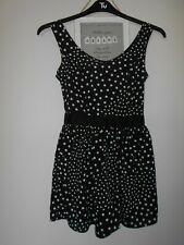 MISS SELFRIDGE Ladies Shorts Jumpsuit Size 4 Black White Spots Open Back Bow