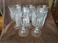Set of 5 Vintage Heavy Glass Water Goblets