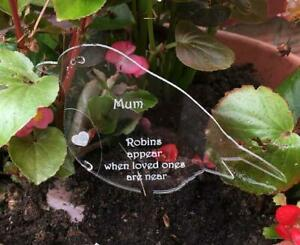 Personalised engraved memorial robin in see-though acrylic
