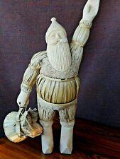 Vintage Santa Natural Wood Fibers Figurine hand Carved  19' tall