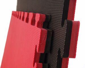 Cannons UK 20mm Martial Arts Mats Karate Taekwondo 1m x1m interlocking Black Red