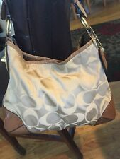 COACH Large brown PEYTON Signature Sateen Leather Hobo Tote Purse Bag 14525