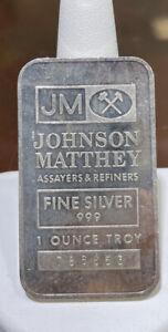 Vintage Johnson Matthey 1 Oz Silver Bar SN 786653