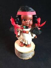 Native American Female Doll w/ Suede Leather Clothing & Wooden Log Stand