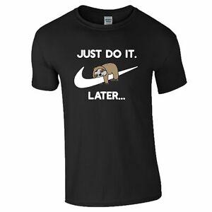 Lazy Sloth T-Shirt Gym Training Just Do It Parody Birthday Xmas Kids Mens Top