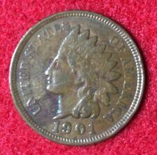 1901 Indian Head Cent – better grade circulated coin – full Liberty, 3 diamonds