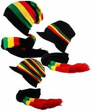 rasta reggae RAYURE surdimensionné souple à enfiler Pic bonnet ensemble foulard