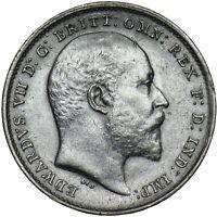 1902 THREEPENCE - EDWARD VII BRITISH SILVER COIN - V NICE