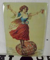 Ancienne Plaque Publicitaire Vintage métal Bière Karcher Hors Concours France