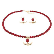 """18"""" Round 6mm Red Coral Gold Heart and Angel Wings Necklace and Earrings Set"""