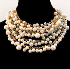 "Abercrombie & Fitch Glass Faux Pearl Necklace Statement Runway Gold Tone 16""+3 """