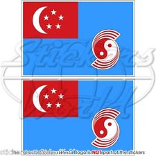 "SINGAPORE Aeronautica Militare RSAF 1973-90 Bandiera Adesivi 75mm 3"" Stickers x2"