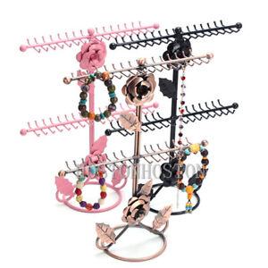 32 Hook Rose Floral Jewelry Necklace Display Metal Stand Rack Organiser Hanger