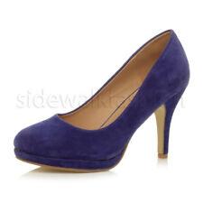 Womens ladies high mid heel platform wedding evening bridesmaid court shoes size