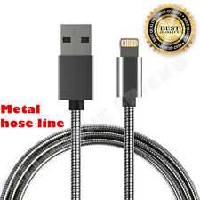 MFi Lightning Metal Fast Cable USB Charger for Apple iPhone 5S 6S Plus 8 X BLACK
