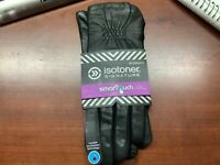 Isotoner Womens Leather & Spandex Smartouch Touchscreen Glove Black XS/S $60.00