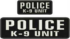 police k-9 unit embroidery patches 3x10 and 2x5hook on back white letters