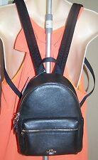 Coach Mini Charlie Backpack Pebbled Leather F38263 Black NWT $295