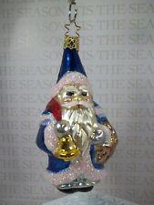 "Inge Glas Santa Blue w/ Bell Blown Glass Ornament Germany 5"" Tall Owc"