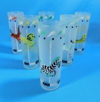 Vtg Libbey CIRCUS CAROUSEL MERRY-GO-ROUND Frosted Glasses Set of 6