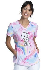 Charlie Brown & Snoopy Cherokee Scrubs Tooniforms Peanuts V Neck Top TF752 PNES