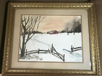 "Susan Schierenbeck ""Winter Landscape Scene"" Watercolor Painting - Signed/Framed"