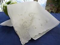 Vintage Cotton All White Handkerchief Madeira Embroidered Flowers Monogram F