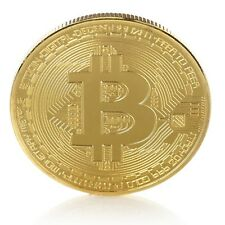 Bitcoin Gold Plated BTC Token Miner Cryptocurrency Commemorative Collection 1 pc