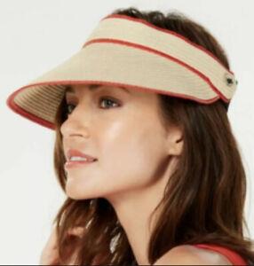 NWT! CALVIN KLEIN packable straw women's visor - Natural/Red