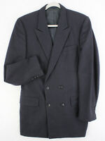 Vtg 80s A GOLD Custom Tailored Double Breasted Blue Suit Coat Jacket Men's 38R