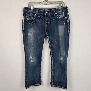 Silver Aiko Mid Rise Capri Distressed Womens Dark Wash Jeans Size 31
