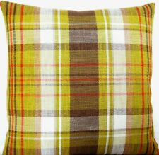 "Designers Guild Cushion Cover Checks Fabric Montserrat Woven Moss Green 16"""