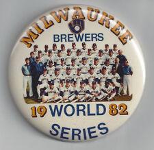 1982 BREWERS World Series button team PHOTO original pin Robin Yount Milwaukee