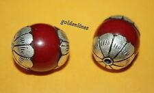 Tibetan Nepalese Handmade Red resin 2 beads Nepal beads Tibetan beads 429