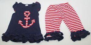 2 Pc Conice Co. Outfit Youth Girls Size 6-7T Ruffle Tunic Shirt Capri Pants RWB