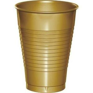 Gold 12 oz Plastic Cups 20 Per Pack Gold Tableware Decorations Party Supplies