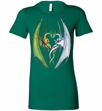 Entwined Dragons -Fantasy Art  Womens Fitted  Graphic T-shirt  (s-2xl)