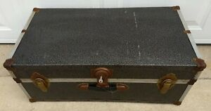 "Old Vintage Metal Travel Storage Chest Footlocker Trunk 32"" x 16"" x 12"" Black"