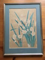 Japanese Art Print Narcissus Artist Shodo Vintage 1954 Hand Colored Print Framed
